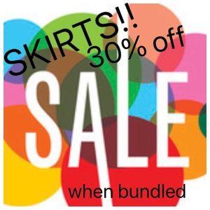 SKIRT SALE!! 30% when you bundle a skirt!!